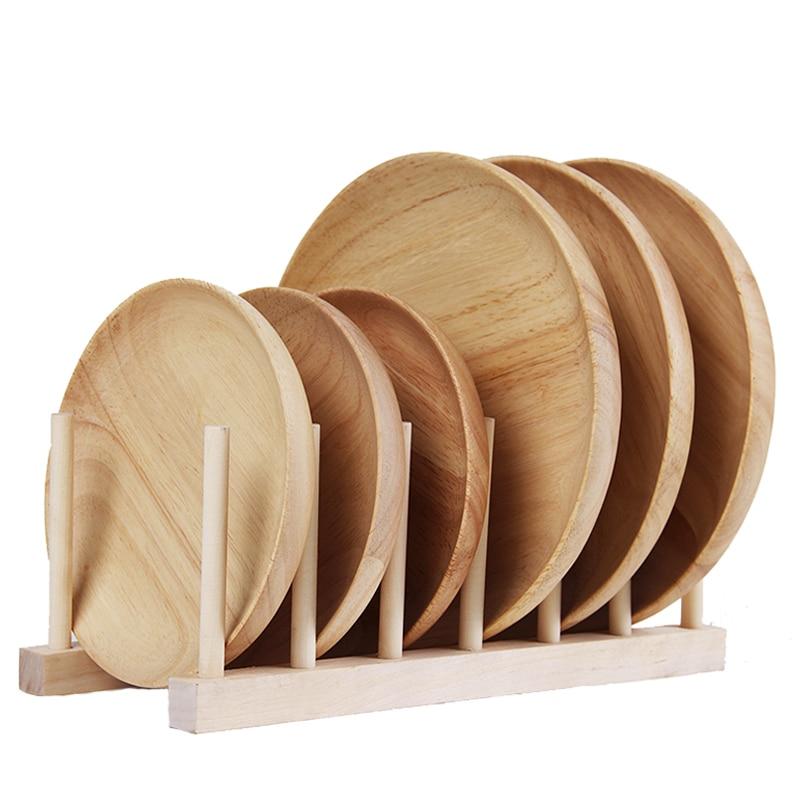 Premium Round Wood Plates Japanese Cake Dessert Dishes Wood Serving Tray Plate Wooden Tableware Gift Kitchen Utensils 2 Sizes (5)