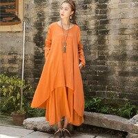 New Spring Autumn Loose Cotton Linen Casual Dress O Neck Irregular Dress Solid Colors Dress Womne
