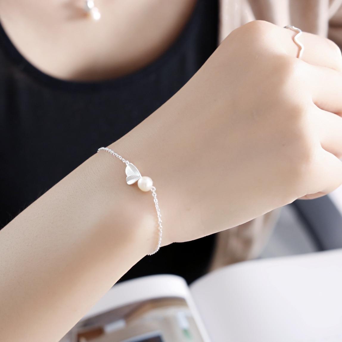 leaf pearl bracelet 100% 925 Sterling Silver Jewelry fashion hypoallergenic bracelets for women gift