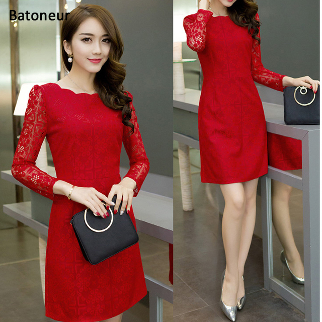 Women\'s Robe office lace bodycon party dresses ladies Elegant red ...