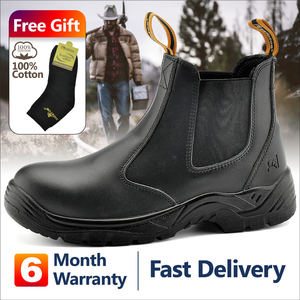 Safetoe Safety Work Safety Shoes For Men Leather Sneaker Waterproof Anti Smashing Work Boots Summer Steel Toe UK US Stock image