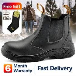 Zapatos de seguridad de trabajo de seguridad para hombre, zapatillas de cuero, botas de trabajo a prueba de agua, botas de trabajo a prueba de agua, punta de acero, Reino Unido