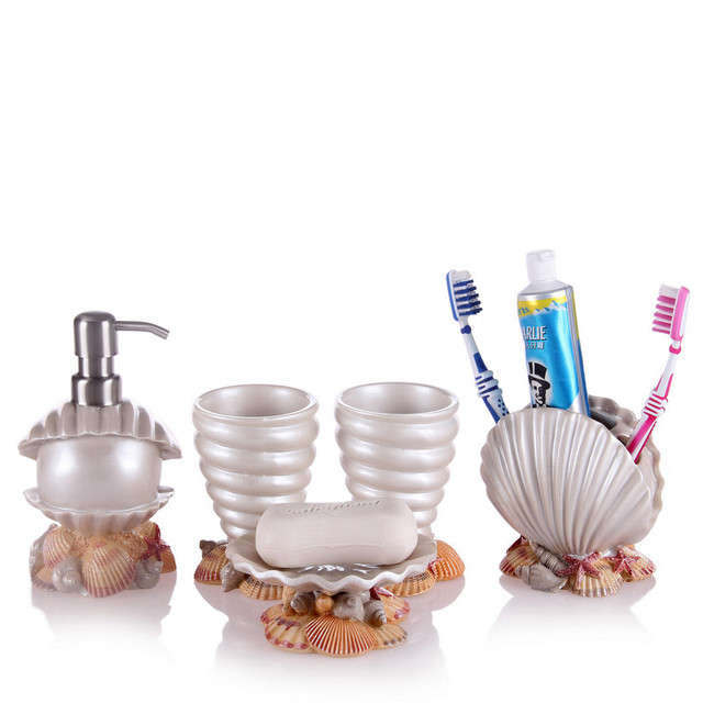 Five Piece Bathroom Toiletries Resin Suite Wedding Mediterranean Lotion  Bottle Soap Box Toothbrush Toothpaste Gargle