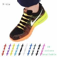 V-tie Genuine 12pcs/lot Arrow Unisex No Tie Elastic Silicone Shoelaces Shoe Laces For Men Women Children All Sneakers Fit Strap