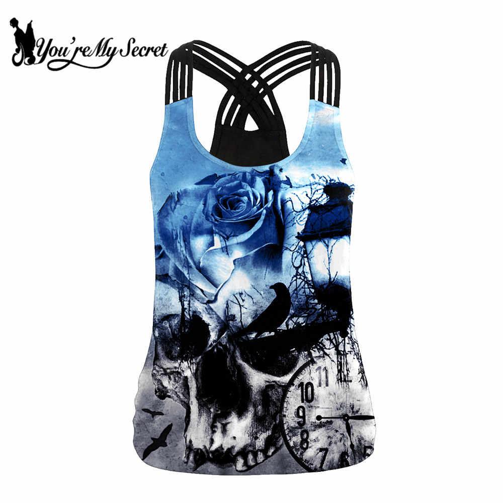 [Kau Rahasia] Fantasi Gothic Tengkorak Printing Wanita Sling Atasan Sexy Backless Tank Top Fashion Biru rose Pola Rompi Musim Panas
