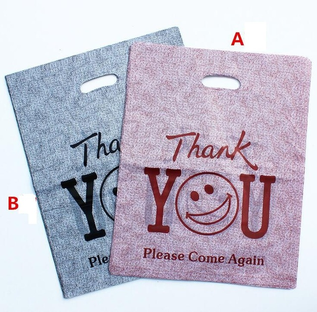 Us 8 42 7 Off 100pcs Thank You Printed Gift Bags Plastic Shopping Bags Wholesale With Handle Promotion Packing Bag Plastic Bag With Handle In Gift