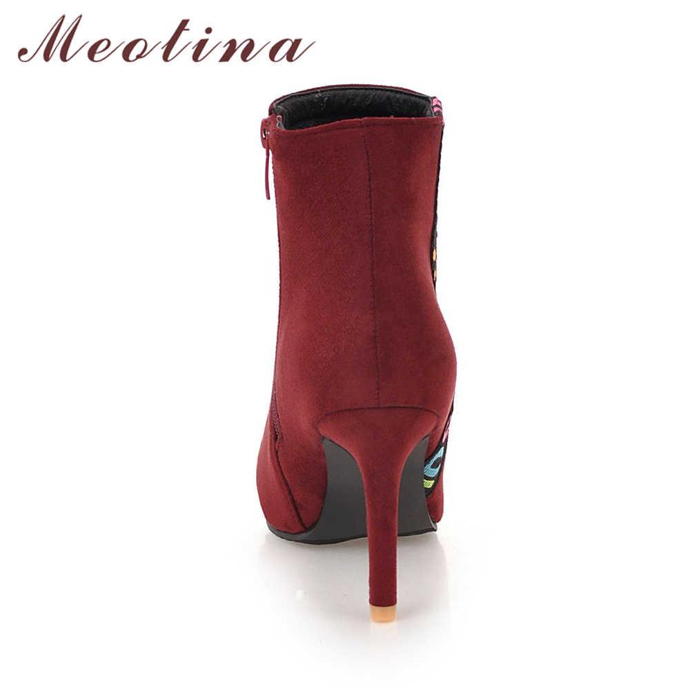 Meotina 2018 Kış yarım çizmeler Kadın Ince Yüksek Topuk Çizmeler Sivri Burun kısa çizmeler Moda Fermuar kadın ayakkabısı Büyük Boy 45 46