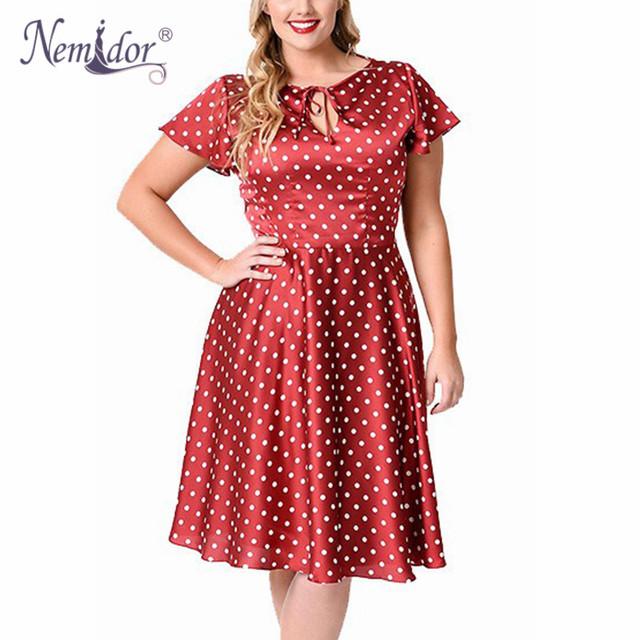 Nemidor vendas quentes mulheres casuais plus size 7xl 8xl 9xl balanço midi dress dot manga curta o pescoço retro a-line dress
