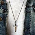 Crucifixo de Jesus Cruz Colar de Pingente de Prata Banhado Em Aço Inoxidável Acessórios Takahashi Goro Pena Jesus Crucifixo Religiosa