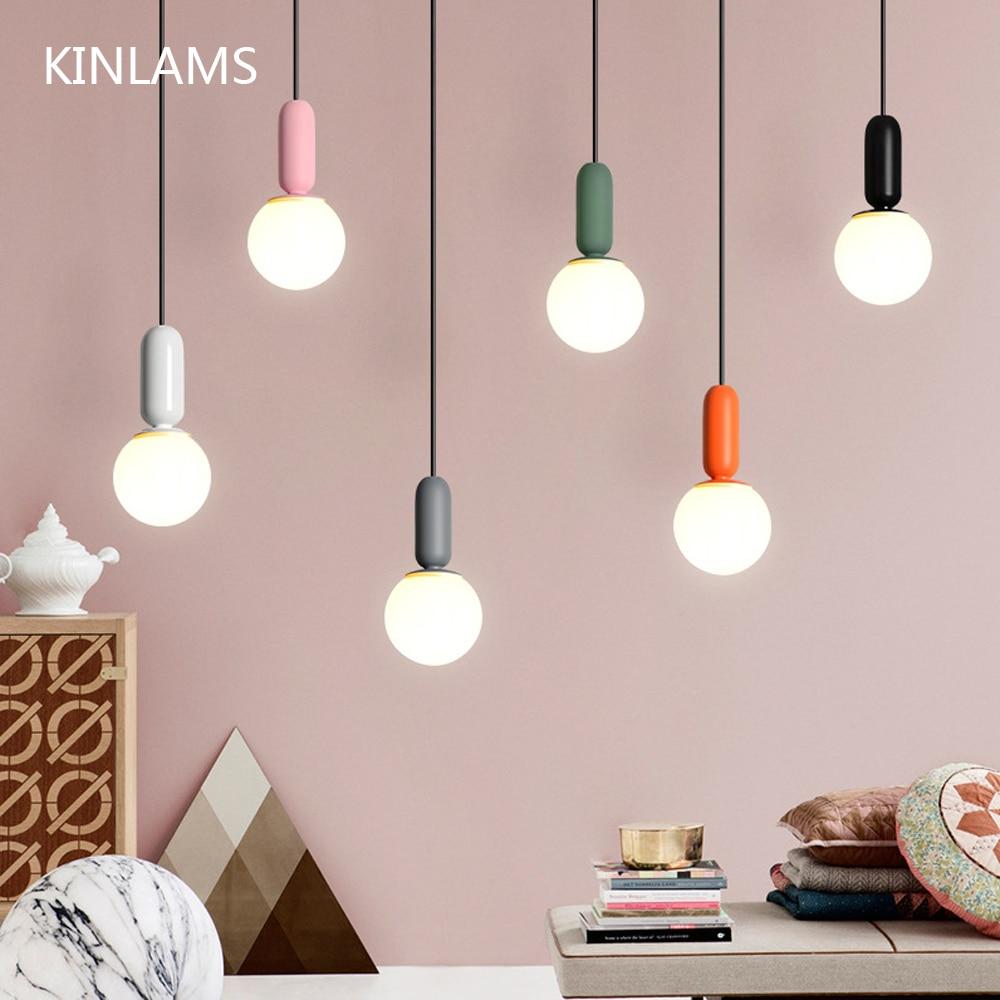 Us 39 2 20 Off Modern Nordic Macaroon Creative Colorful Child Room Pendant Light Kids Bedroom Simple Dinner Cafe Restaurant In