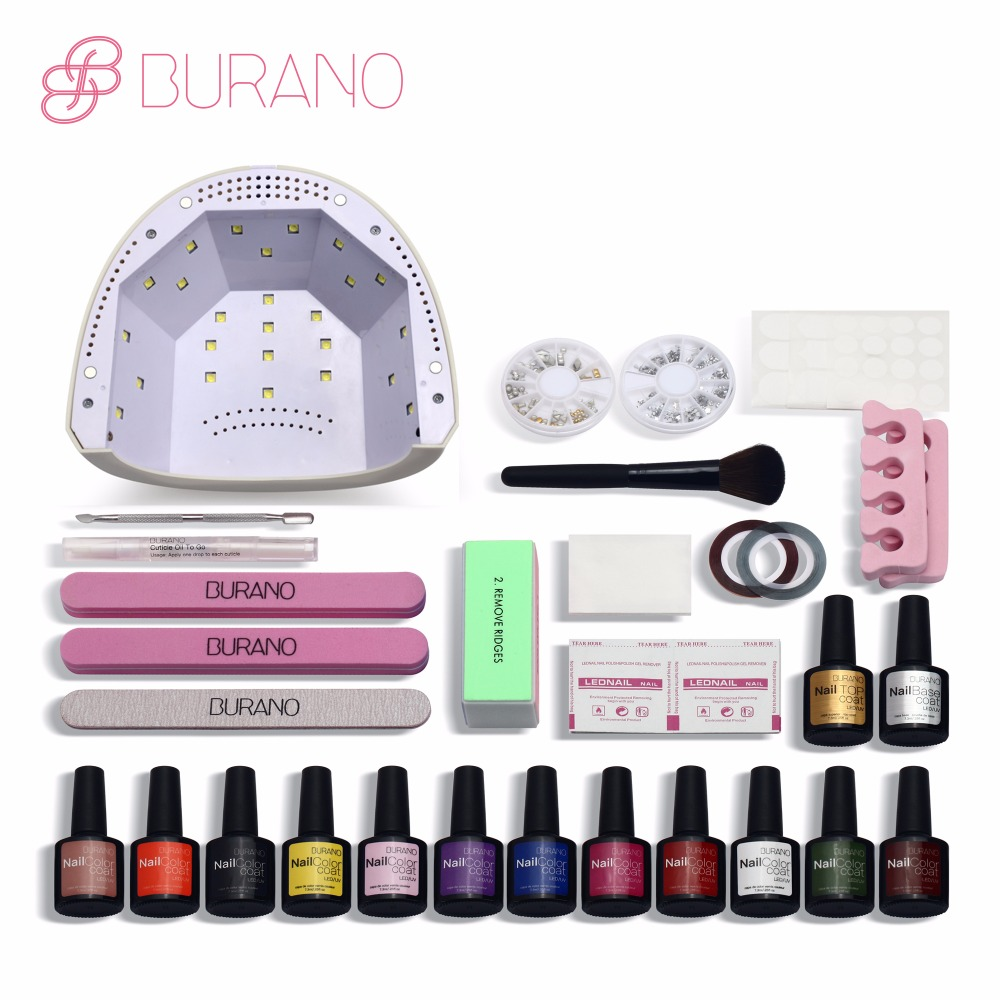 Burano 48w led lamp timer nail dryer choose 12 colors uv gel polish nail art kit set uv gel polish manicure set
