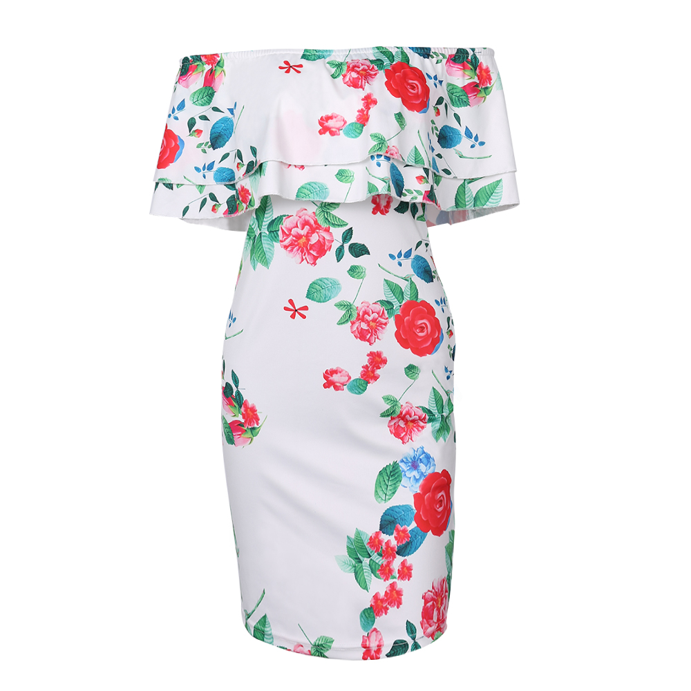 Kenancy Clearance Sale 3XL Plus Size 3 Colors Off Shoulder Dress Hot Leaf  Flower Printing Sexy Ruffle Sheath Bodycon Vestidos-in Dresses from Women s  ... 2f45e596e0ff