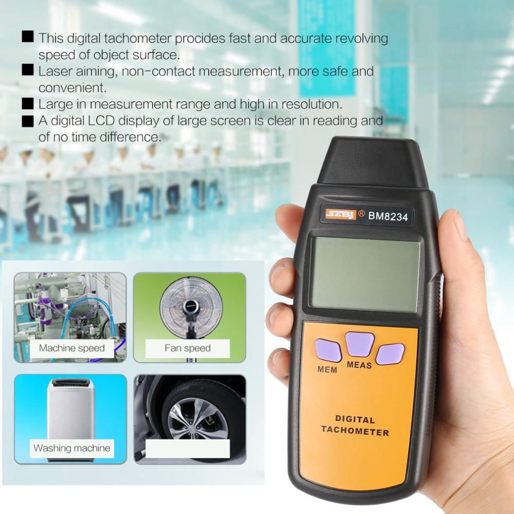 Newest Digital Photoelectricity Tachometer SZBJ BM8234 Universal Car Marine Handheld Tacho No Contact Tach Hour Meter 99996RPMNewest Digital Photoelectricity Tachometer SZBJ BM8234 Universal Car Marine Handheld Tacho No Contact Tach Hour Meter 99996RPM