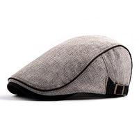 2018 novo inverno quente lã mistura tweed newsboy boné masculino cor sólida cabbie boina plana ivy hat