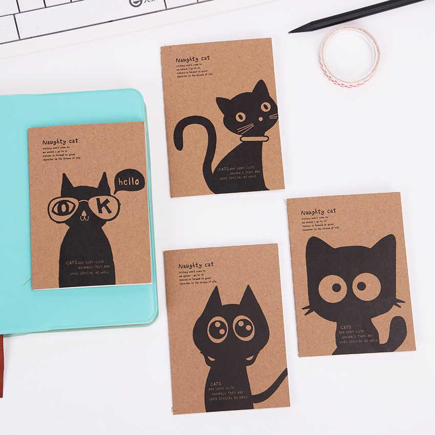 1PC Mini Kawaii gato y circo diario cuaderno en blanco Kraft papel Vintage Retro Bloc de notas libro para niños papelería regalo