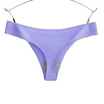 4XL Large Size Ice Silk Seamless Women G-string Thongs 1