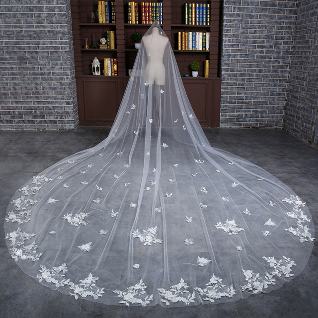 New 3 Meters White/Ivory Flowers Appliqued Mantilla Cathedral Wedding Veil Bridal Veil Long With Comb Wedding Accessories MD3006