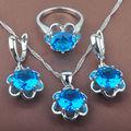 Fancy Blue  Stone Women's      925 Sterling Silver Jewelry Sets Necklace Pendant Earrings Rings Free Shipping TZ048