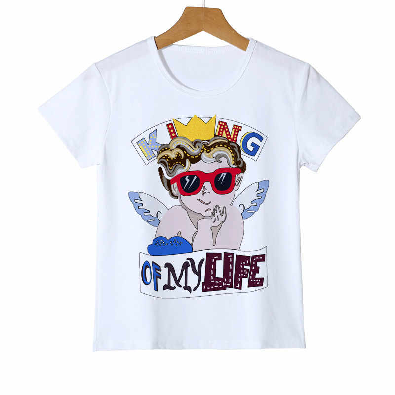 Children's Angels King Printed Boy Girl Baby T shirt White Summer Clothing Design Model Top Tee Casual Kid T shirt Y14-8