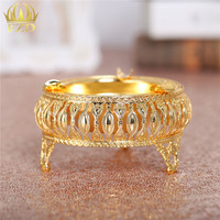 1 Piece Exquisite Golden Metal Hollow Ashtray For Home And Offical Decoration LX 059