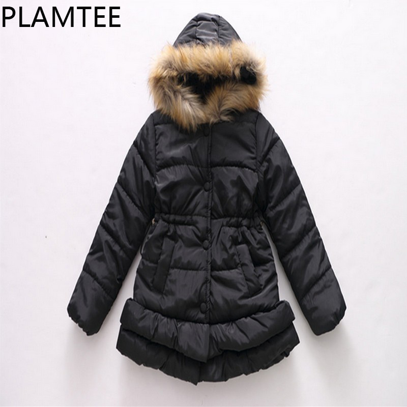 PLAMTEE Casual Girls Winter Coat Long Sleeves Hooded Children Down Jacket Solid Color Warm Kids Outerwear 4-9Y Baby Clothes 2017 new fashion girls winter warm coat kids jacket hooded snow wear cotton down outerwear girl solid color winter clothes