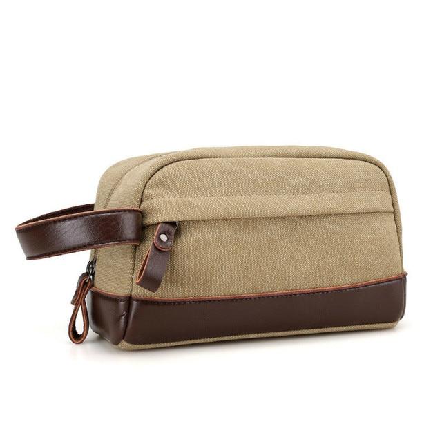 S Vintage Men Dopp Kit Leather Handbag Canvas Toiletry Bags Travel Ng Cubes Cosmetic Bag Wrist