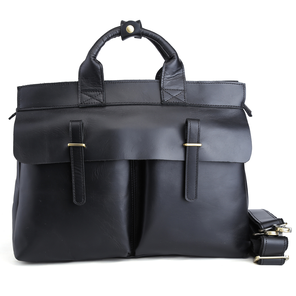 Black Top Italian Cow Leather Briefcases Men Business 14