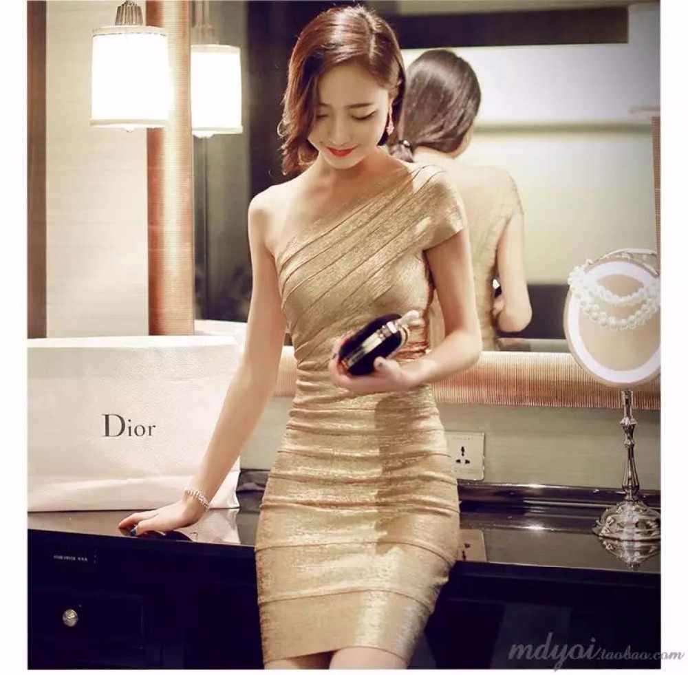 Золотые вечерние платья с повязкой, сексуальные женские наряды, Коктейльные Вечерние облегающая одежда для клуба облегающие мини-платья, новинка 2019