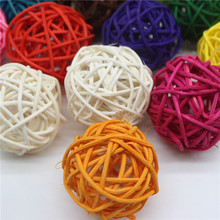 20Pcs/lot 5cm Mixed Color Decor Rattan Wicker Cane Ball Decoration for Home Garden Patio Wedding Birthday Party
