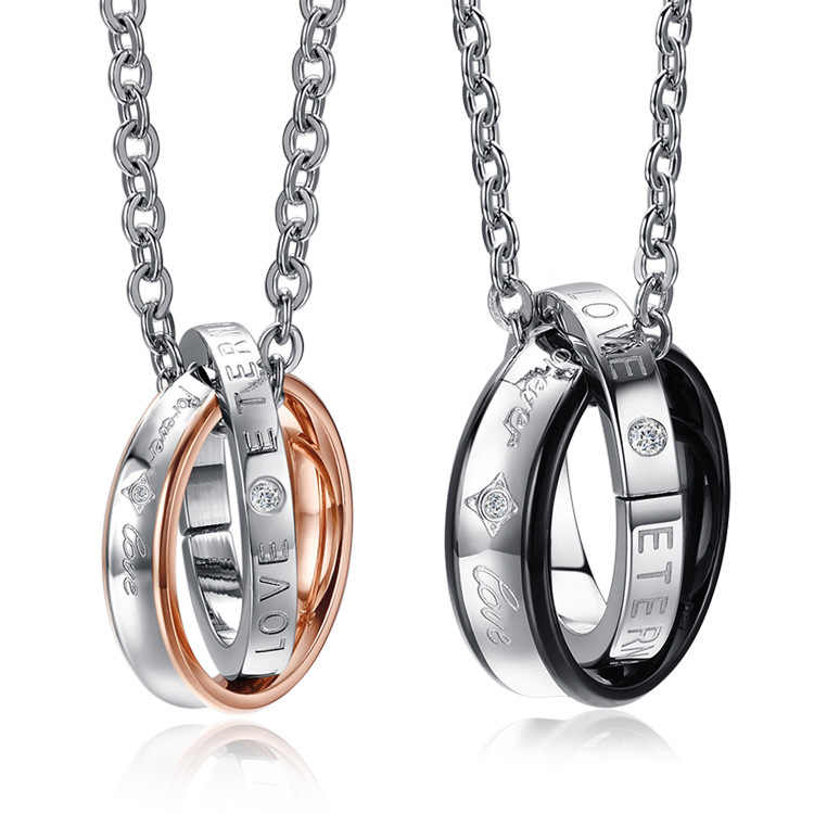 Couple Necklace 316L Stainless Steel Lovers Necklace Fashion Jewelry Romantic Lovers Pendant Necklaces