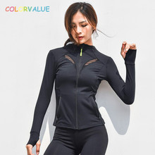 Colorvalue Long Sleeve Yoga Coat Women Slim Fit Zipper Sport Jersey Leisure Mesh Jogging Running Jacket with Thumb Holes Pocket