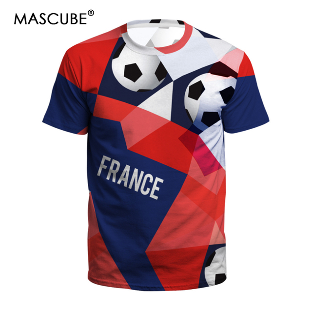 8f88cd412 MASCUBE Mens Football T shirts Women Tee Tops Shirts 2018 Soccer Cup France  Fans Short-sleeved T-shirt