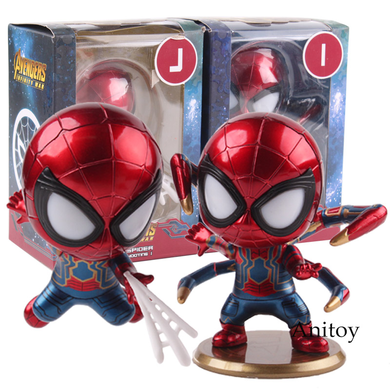 Avengers Infinity War Iron Spider Bobble Head Doll with LED Light PVC Spiderman Action Figure Marvel Collectible Model Toy 9cm