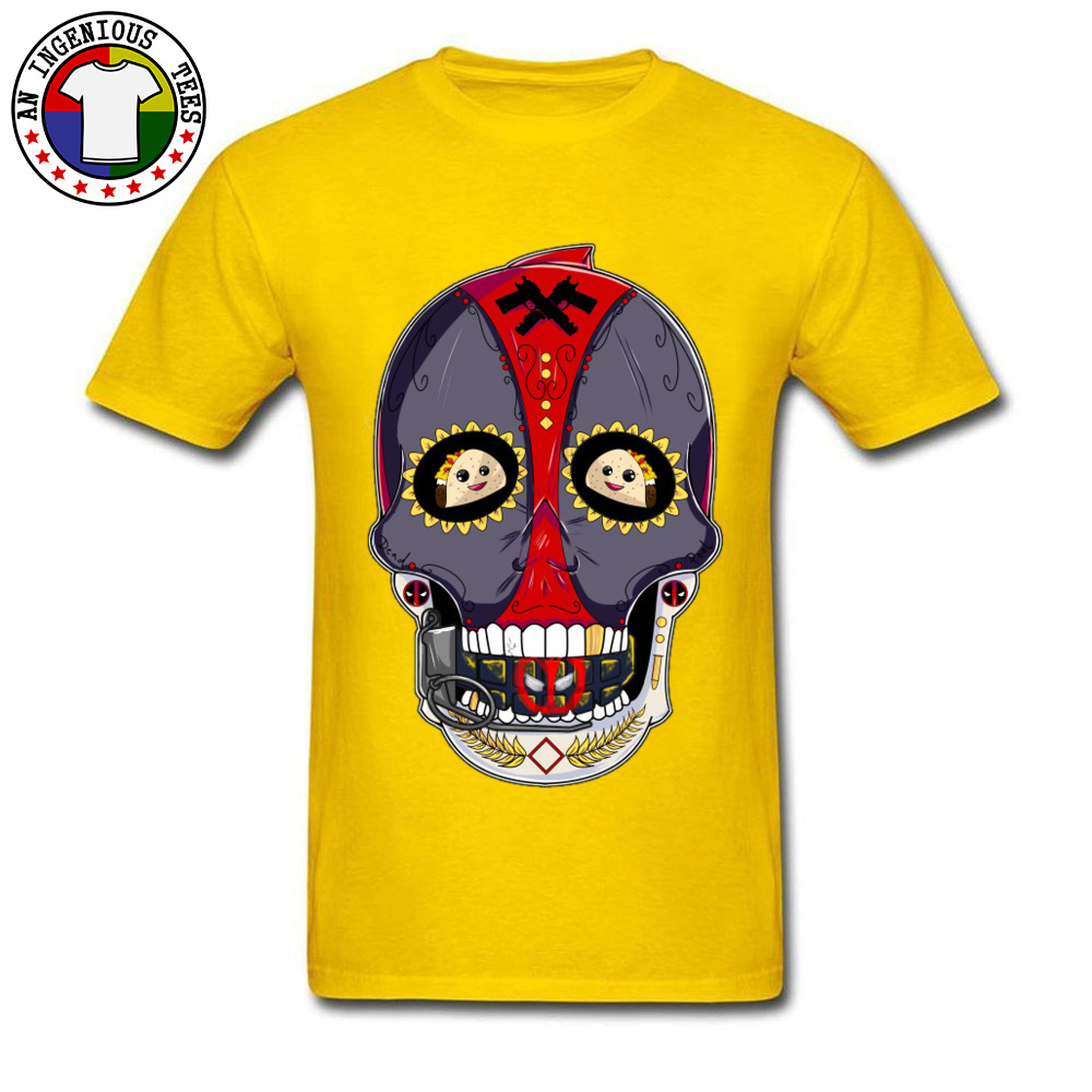Tees Deadpool Sugar Skull 1226 T-Shirt Summer Fall Company Normal Short Sleeve All Cotton Round Neck Men's T-Shirt Normal Deadpool Sugar Skull 1226 yellow