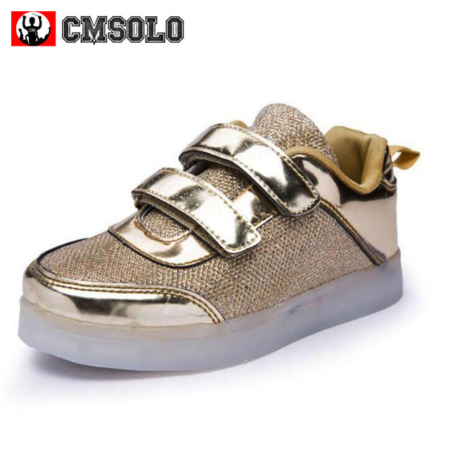 CMSOLO Glowing Sneakers With Luminous Sole Led Shoes Kids Girls Boys   Lighted Rubber Female Gold Silver Children s Running Shoes 45a6cdf202a0