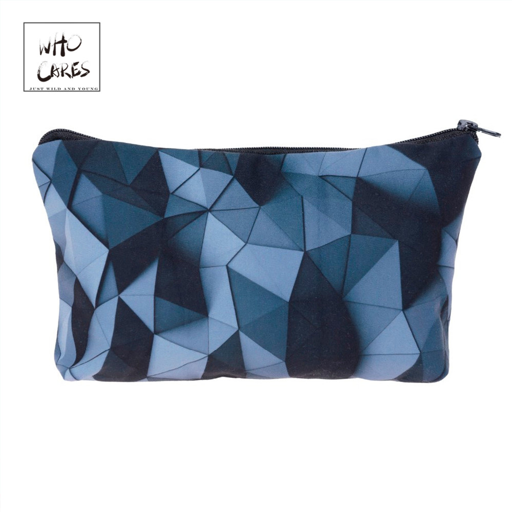 Ladies Pouch Makeup-Bags Cosmetic-Organizer Triangles-Printing Fashion Women 3d Who Cares