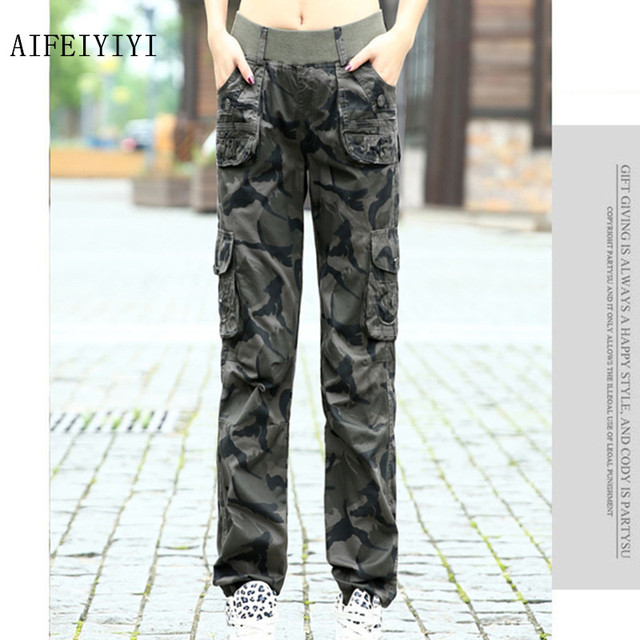 Womens Workout Camouflage Military Harem Cargo Jeans Pants Denim Overalls Beam Baggy Pant Ladies Loose Multi-pocket Trousers 4