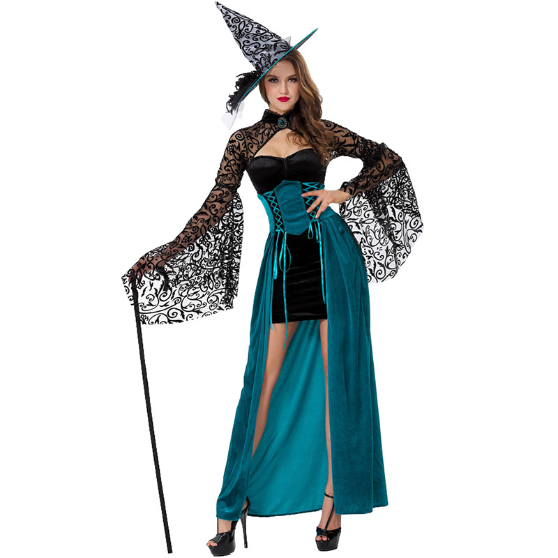 2018 Gothic Witch Halloween Costume Women Party Fancy Dress Female Maxi Long Cosplay Witch Dress Halloween Cosplay Clothing