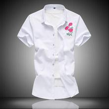 Flower Embroidery Shirt Summer Chinese style Hawaiian Mens Shirts Short sleeves Blouse White Black Navy