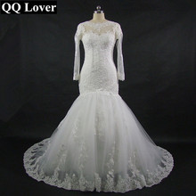 QQ Lover New Mermaid Long Sleeve Wedding Dress Lace Appliques Bridal Gown Custom Size 2017 Vestido De Noiva