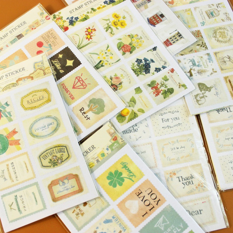 32pcs Cute DIY Stamp Paper Stickers Kawaii Stationery Scrapbooking Stickers New