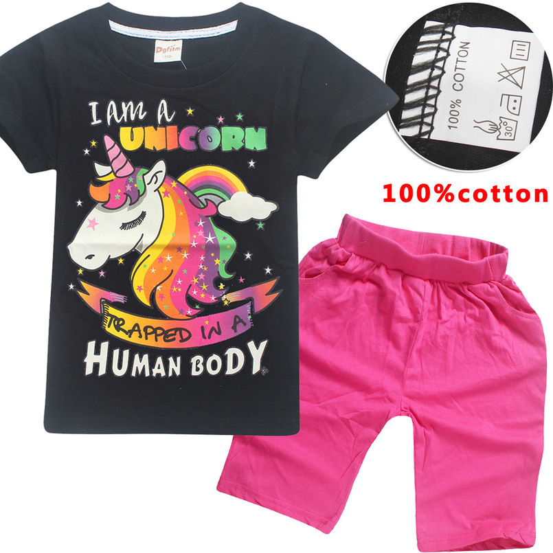 Hot Sale Brand girls Clothing Children suit Summer Clothes Cartoon Unicorn Kids Big girls Clothing Set T-shirt+Pants 100%Cotton summer baby boys clothing set cotton animal print t shirt striped shorts sports suit children girls cartoon clothes kids outfit