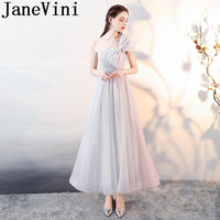 JaneVini 2018 Light Gray Cheap Summer Long Bridesmaid Dresses Sleeveless A Line Floor Length Maid of the Honor Dresses with Bow