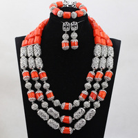 2017 New Wedding Coral African Beads Jewelry Sets Silver Accessories Indian Bridal Necklace Earrings Set Gift CNR766