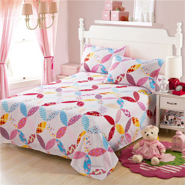 Very Beautiful Modern Geometry Printing Flowers Bed Sheets Bedding Sets  Pink White Red Yellow Full Queen