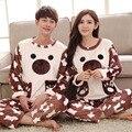Lindo Urso Mulheres de Outono Inverno Homem Conjuntos de Pijama de Flanela Casal Pijama Sleepwear Feminino Masculino Amantes de Lazer Roupa Em Casa