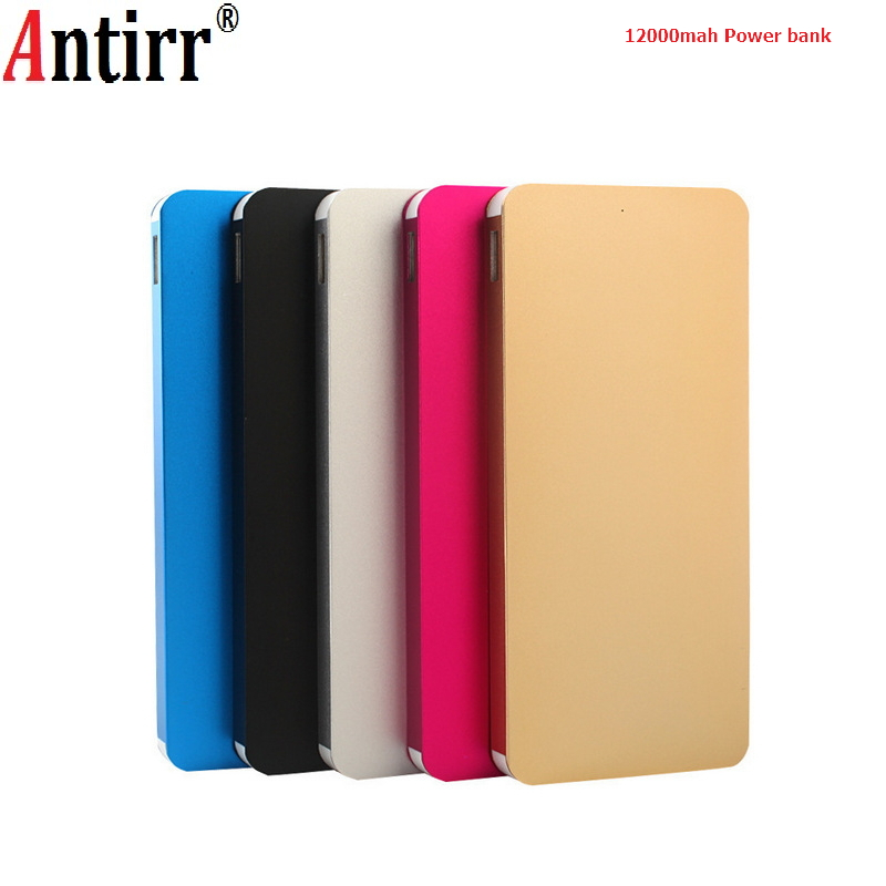12000MAH Ultra Thin External Power Bank Portable Aluminum Alloy <font><b>Battery</b></font> Charger <font><b>Battery</b></font> Power Supply For iphone Smart Phones image