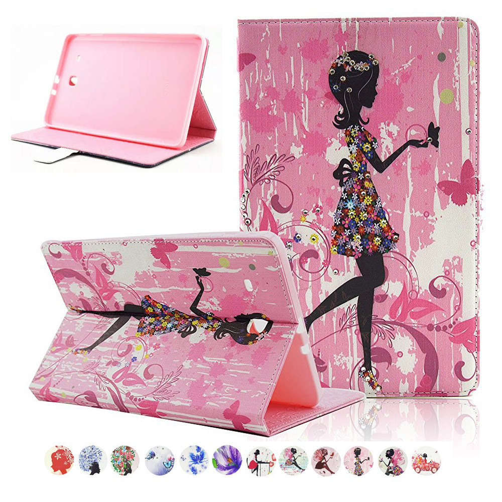 For Galaxy Tab E9.6 Inch Cover Girls Rhinestone Magnetic Closure Kickstand Case Cover for Samsung Galaxy Tab E 9.6 SM-T560 T561 планшет samsung galaxy tab e sm t561 sm t561nzkaser