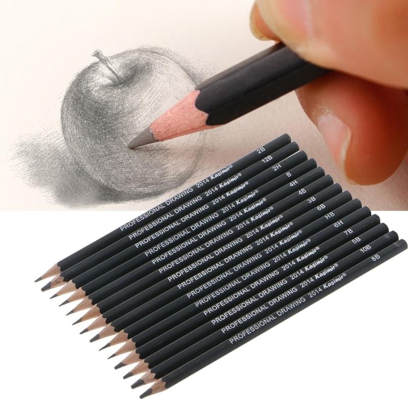 14pcs Artists Sketch Drawing Pencil Set 12B-6H Sketching Art Craft Gift Black
