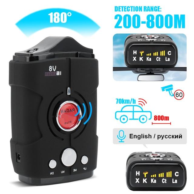 Multi Function Full Band Scanning Car Radar Detector V8 English Russian 360 Degree Voice Warning 16 Band LED Display